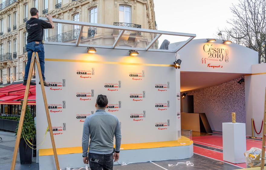 Dais d'accueil de la 44ème Cérémonie des César au Fouquet's à Paris